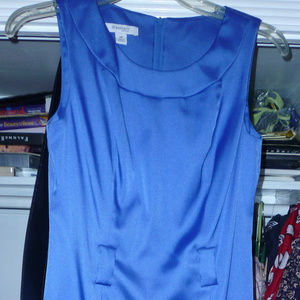"dressbarn 6P dress shiny blue w/black belt 35"""